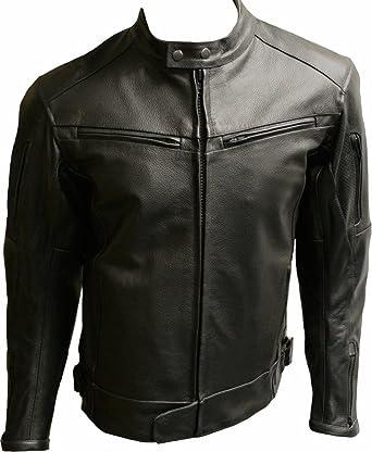 En cuir de vachette pour homme Noir renforcée de moto avec veste SALOU