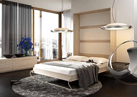 Brand New Modern Bedroom Vertical Fold Away Pull Out Murphy Bed in Oak Riviera in 3 Sizes Without a Mattress sold by Arthauss (140cm)
