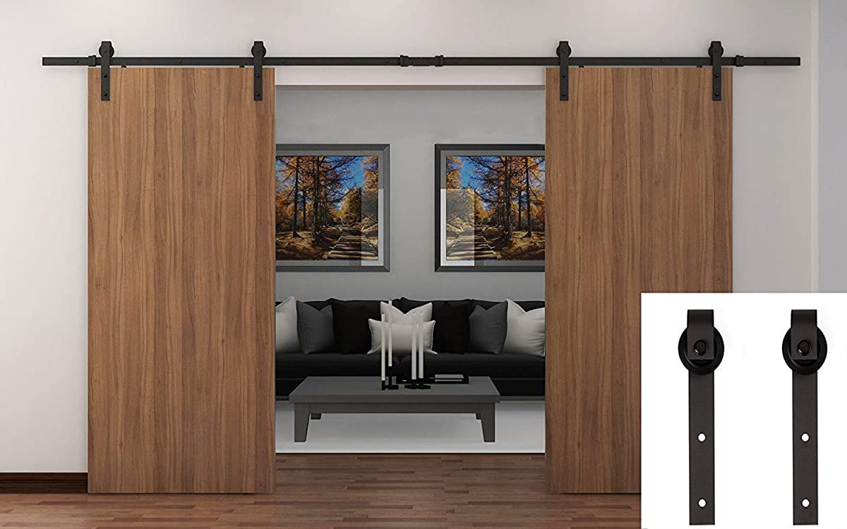 WBHome Country Barn Wood Steel Sliding Door Hardware Set Antique Style - Double Doors - 13 Ft Black