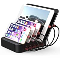 KeyEntre Detachable 5-USB Charging Station Dock for Multiple Devices (Black)