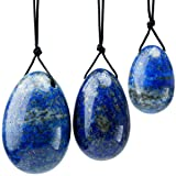 rockcloud Lapis Lazuli Set of 3 Drilled Yoni Eggs with String, Massage Stones for Women to Train Pelvic Muscles Kegel Exercise (Color: Lapis Lazuli, Tamaño: Small)