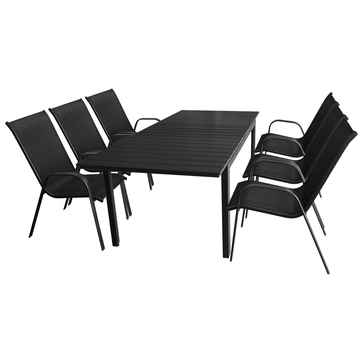 7tlg gartenm bel set aluminium ausziehtisch 160 210x95cm polywood tischplatte 6x. Black Bedroom Furniture Sets. Home Design Ideas