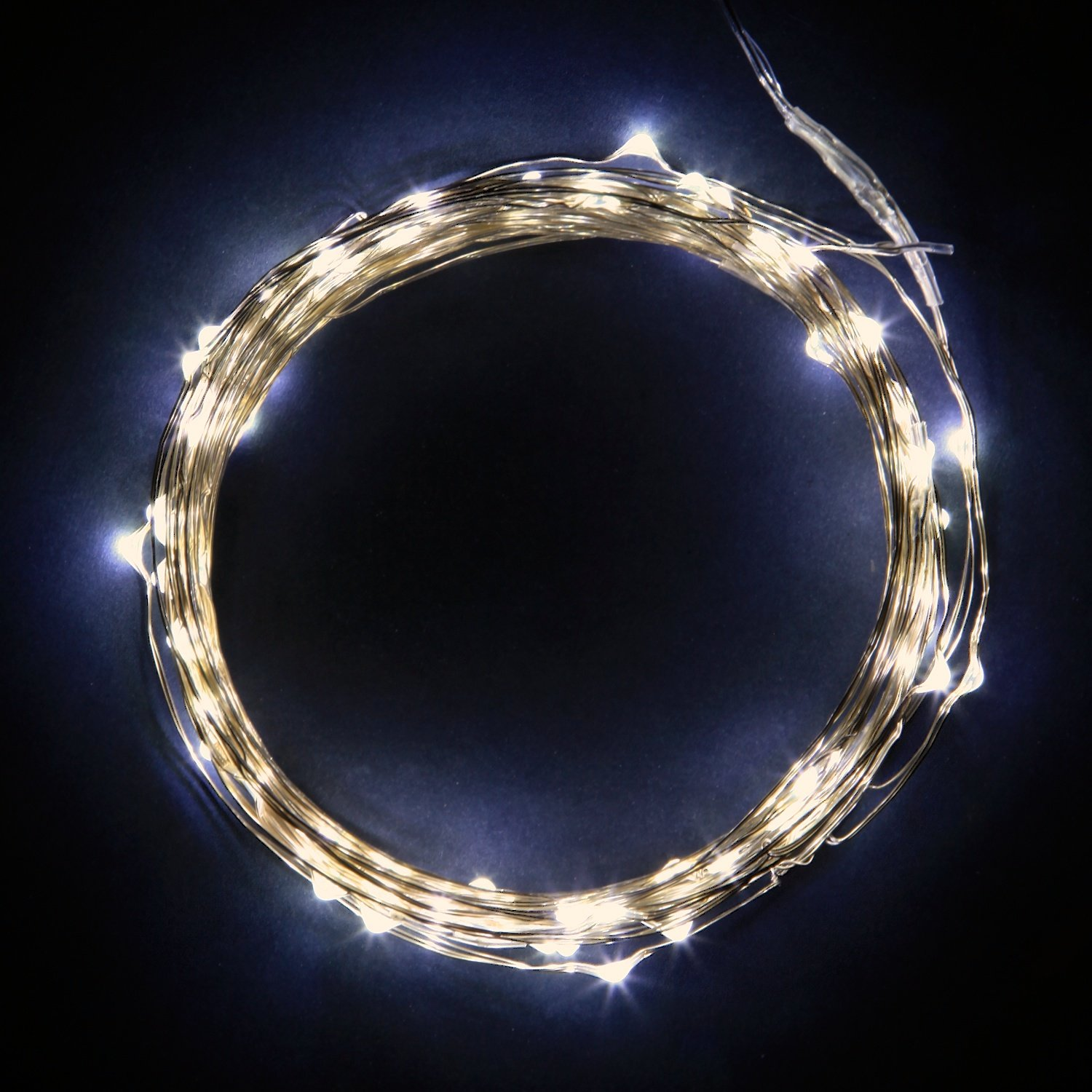 NEW LED 100 Fairy Lights 30Ft Silver Thin String Wire Cold White Color Christmas eBay
