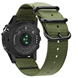 Fintie Band for Garmin Fenix 5X Plus/Fenix 3 HR Watch, 26mm Premium Woven Nylon Bands Adjustable Replacement Strap for Fenix 5X/5X Plus/3/3 HR Smartwatch - Olive (Color: Olive)