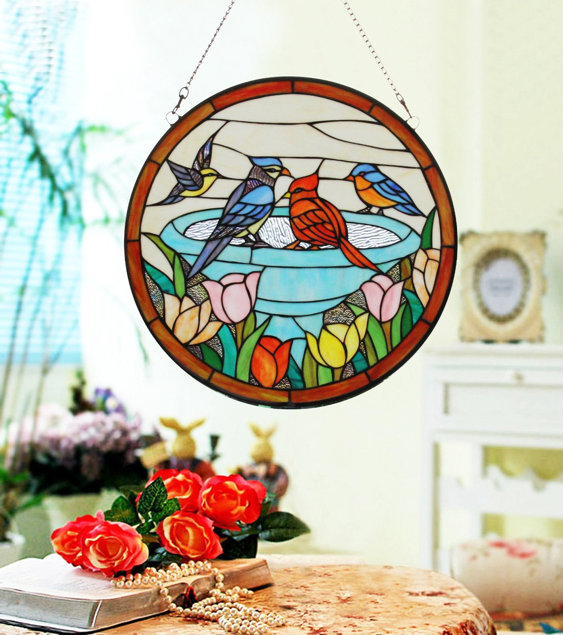Makenier Vintage Tiffany Style Stained Church Art Glass Parrot and Tulip Round Window Panel Wall Hanging 3