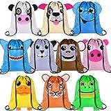 PROLOSO Bulk Animal Drawstring Bags Sports Gym Backpack Pull String Bags Cinch Tote Sacks for Traveling Storage 10 Pcs (Color: animal drawstrings, Tamaño: 13''x 15.5')
