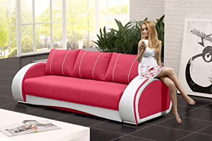 CHER Sofa Bed * Brand New * Modern Design * LIGHT RED AND WHITE