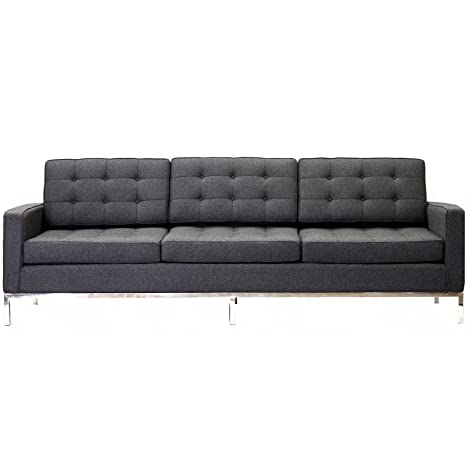 LexMod Florence Style Sofa in Dark Gray Wool