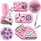 Set of 6 Sea Ocean 3D Pink Silicone Fondant Baking Mold Cake Molds Sea Shell Decorating Supplies Kit with Food Pen (Ocean theme 1) (Color: Ocean theme)