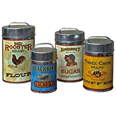 Vintage Canisters: Sugar Flour Coffee Tea