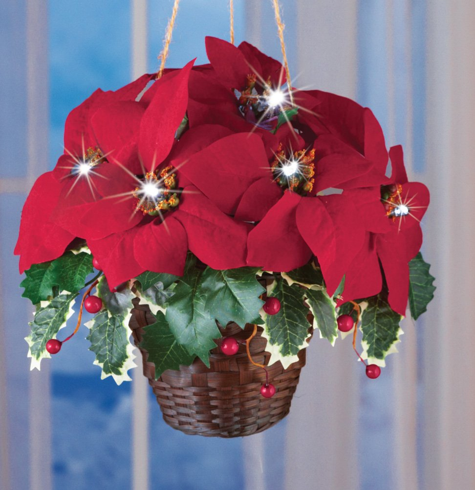 Led Hanging Flower Baskets : Artificial poinsettia arrangements christmas wikii