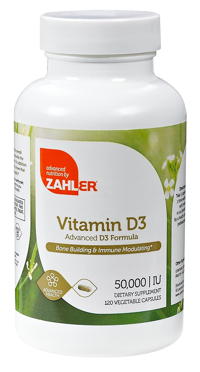 Zahler Vitamin D3 (Cholecalciferol) 50,000IU, An All-Natural Supplement Supporting Bone Muscle Teeth and Immune System, #1 Best Top Quality Vitamin D3 with High Absorption, Advanced Formula Targeting Vitamin D Deficiencies, Certified Kosher, 120 Capsulse pride vitamin d3 1000 iu 100 healthy bone teeth essential nutrient aids in calcium absorption maintain a healthy immune system