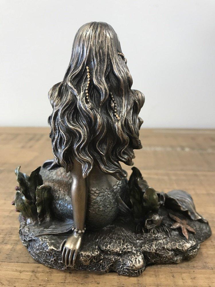 Mermaid Sitting on Beach - Bronze Sculpture Figurine Statue