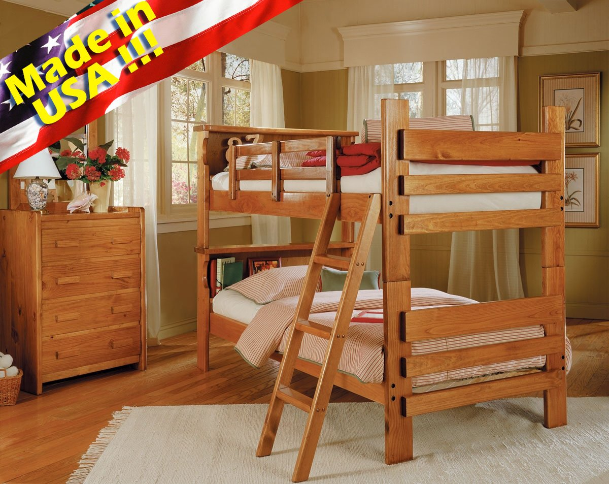 Roundhill Furniture Solid Wood Convertible Bunk Bed With