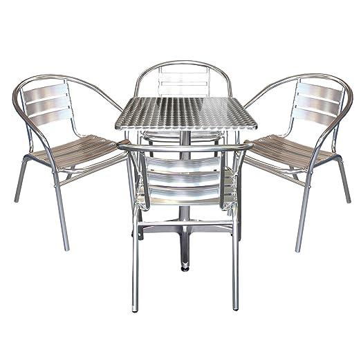 Elegantes 5-teiliges Aluminium Bistromöbel Balkonmöbel Set Gartentisch Klapptisch 60x60x70cm + 4x Gartenstuhl Stapelstuhl Gartenmöbel Terrassenmöbel