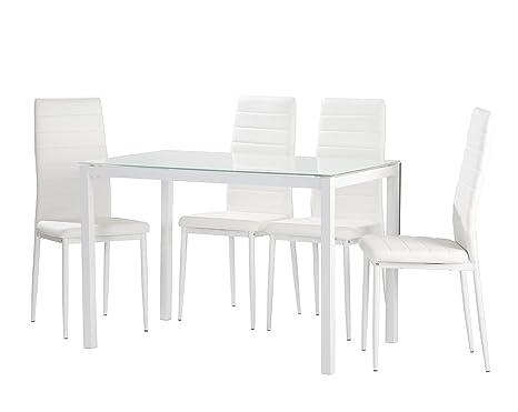 Conjunto de cocina 4 sillas blanco Claudia mesa blanco 120x70