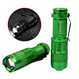TOPIA STAR Mini Tactical LED Flashlight Water Resistant Ultra Bright Zoomable Mini Flashlight (green)