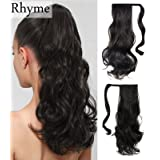 "Dark Brown Ponytail Clip in Hair Extensions Natural Long Curly Wavy Wrap Around Wig 85g 16"" by Rhyme - Drawstring Tie Up Pony Tail Hair piece For Women Girls Lady (Color: Dark Brown, Tamaño: 16)"