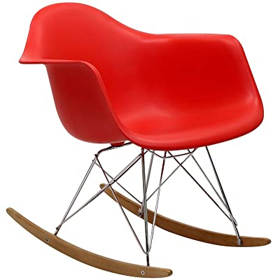 Modway Molded Plastic Armchair Rocker in Red