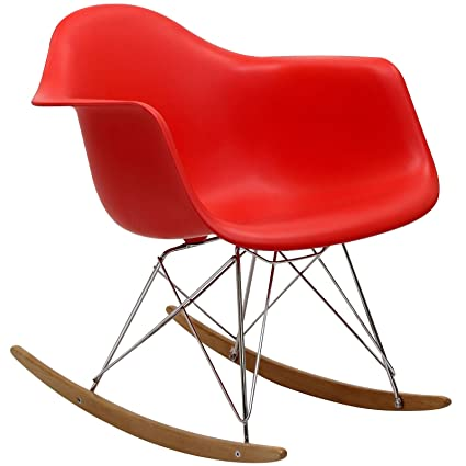 LexMod Molded Plastic Armchair Rocker in Red by LexMod