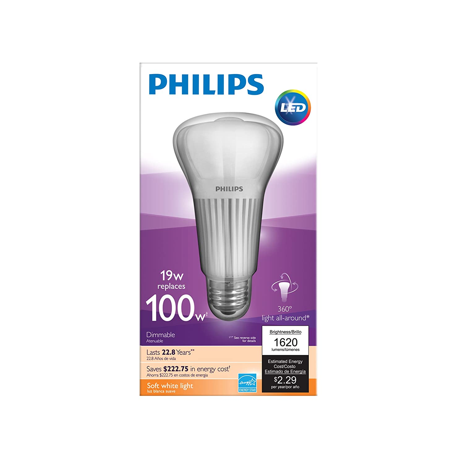 philips 451906 100 watt equivalent a21 led light bulb soft white dimmable new ebay. Black Bedroom Furniture Sets. Home Design Ideas