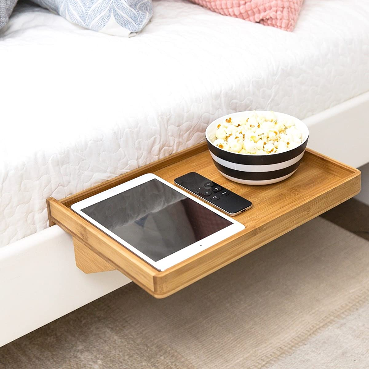 Bedshelfie bedside shelf a space saving floating for Space saving nightstand