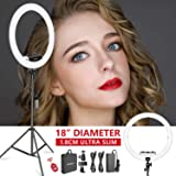 Neewer Ring Light Kit [Upgraded Version-1.8cm Ultra Slim] - 18 inches, 3200-5600K, Dimmable LED Ring Light with Light Stand, Rotatable Phone Holder, Hot Shoe Adapter for Portrait Makeup Video Shooting (Color: White)