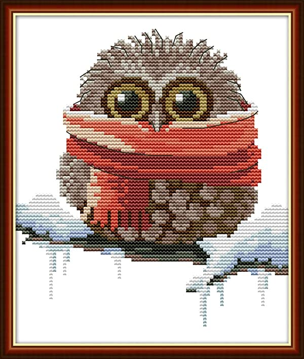 Full Range of Embroidery Starter Kits Stamped Cross Stitch Kits Beginners for DIY Embroidery (Multiple Pattern Designs) - Owl with a Scarf (Color: Owl with a scarf)