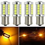 Botepon 4Pcs 1156 1141 1073 7506 Amber Yellow Led Bulb 900 Lumens Extremly Bright 5630 Chipsets 33-SMD for Turn Signal Lights, Corner Lights, Blinker Lights 12V