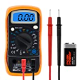 WeePro Vpro850L Digital Multimeter DC AC Voltmeter, Ohm Volt Amp Test Meter, Electric Tester Ohmmeter with Diode and Continuity Detector, Backlit Display and Insulated Rubber Case Kickstand (Color: Black)