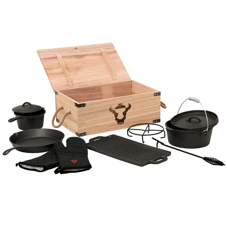 8-teiliges Dutch Oven Set in Holzkiste, Gusseisen, eingebrannt, Töpfe, Pfanne, Handschuhe und mehr bestellen