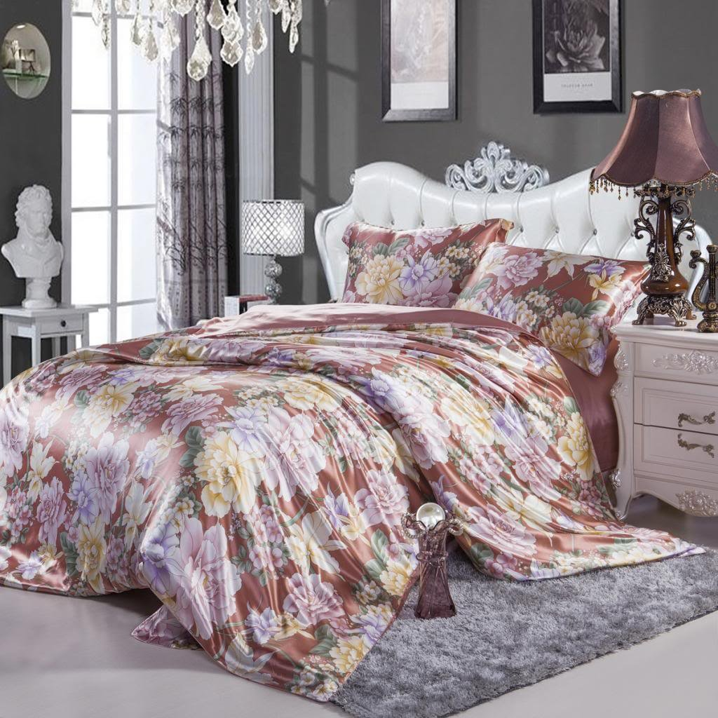 Orifashion Luxury Printed Floral 5-Piece 100% Silk Charmeuse Bedding Set, California King Size