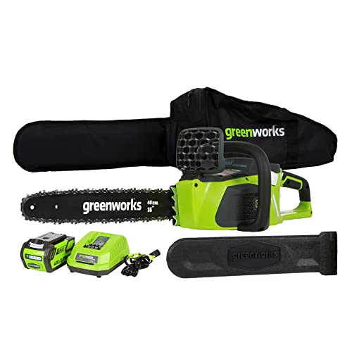 2. GreenWorks 20312 DigiPro G-MAX 40V Li-Ion 16-Inch Cordless Chainsaw, 4AH Battery and a Charger Inc.