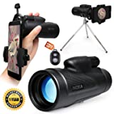 Monocular Telescope High Power,12X50 HD Dual Focus Monoculars Scope for Adults Waterproof Spotting with Cell Phone Adapter Tripod Holder for Bird Watching Hunting Camping Travelling (Color: Black)