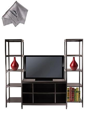 Hailey 3pc TV Stand Shelf SetWith Chanasya Polish Cloth