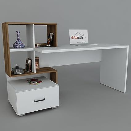 dekorister 8680782052200Bloom lavoro tavolo, truciolare rivestito di melammina, 60X 120X 73, 8cm, colore: noce