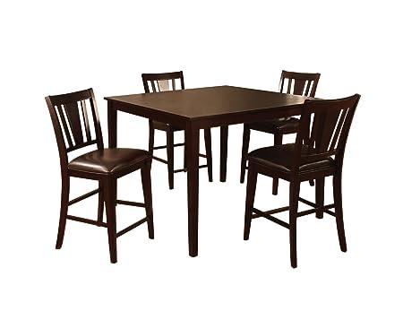 Furniture of America Cornelius 5-Piece Counter Height Table Set, Espresso Finish