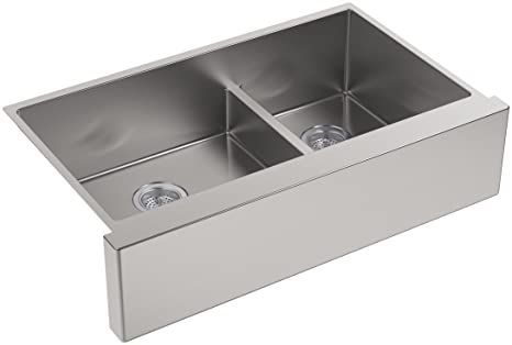"KOHLER K-5416-NA Strive Self-Trimming SmartDivide Undermount Large/Medium Double-Bowl Kitchen Sink with Tall Apron , 35 1/2 x 21 1/2"", Stainless Steel"