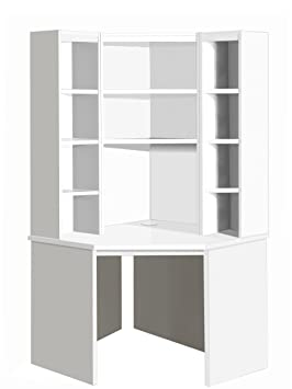 B-CDK-OK-IN-WH White Corner Desk Unit Computer Table Home Office Furniture UK Contemporary For Kids Child's Children's Teen Student Bed In Living Room Study Small Space Under Stairs