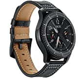 AiiKo For Gear S3 Bands, 22mm Genuine Leather Watch Strap Replacement Band Buckle Bracelet with Quick Release Pin for Samsung Gear S3 Classic/Frontier Smart Watch Wrist Band (Black) (Color: For Gear S3 Band-black)