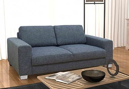 BITONTO 2er Boxspringsofa 2-Sitzer Sofa Couch Webstoff Schwarz-Grau