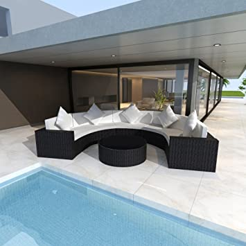 Conjunto Negro de Sofá de Ratán de Jardín En Forma Semirredondeada Con Mesa
