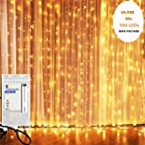 KNONEW LED Window Curtain Icicle Lights, 594 LEDs, 19.7ft x 9.8ft, 8 Modes, String Fairy Light, LED Curtain String Light for Wedding Party/Christmas/Party Backdrops + Cable Ties (Warm White) (Color: 6M 594 LEDs)