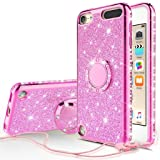 Compatible for Apple iPod Touch 7th, 6th, 5th Generation Case, SOGA Cute Girl/Women Rhinestone Bumper Sparkling Glitter Bling Diamond Phone Cover with Magnetic Ring Stand - Pink (Color: Pink)