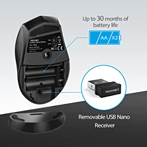TeckNet 2.4G Nano Wireless Mouse, 5 Buttons (M002)