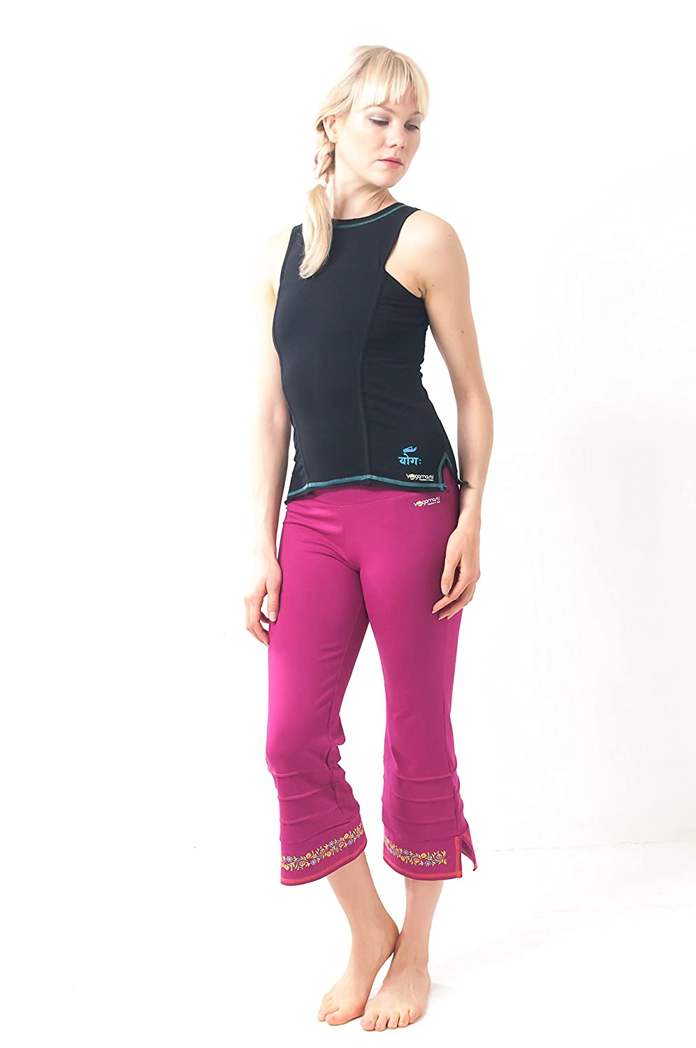 Yogamasti Practice Yoga Capri Hand Painted Detail Stretch with Cotton Fabric