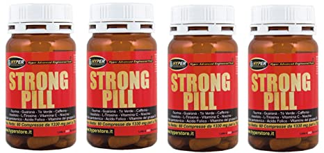 4 Flasche mit 60 Tabletten Pille Strong, starkes Stimulans mit:Taurin, Paulinia Cupana, Camellia Sinensis, Caffeine, Inositol, L-Tyrosin, Vitamin C, Niacin, Pantothensäure, Vitamin B6, Vitamin B2, Vitamin B1, Folsäure, Vitamin B12, ideal fur die