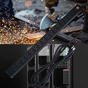 16 Outlets Power Strip,Heavy Duty Metal Socket Power Strip with 9.8ft Long Cord and Power Switch,Mounting Brackets Included,Workshop/Industrial use,Black (Tamaño: 16 Outlets-black)