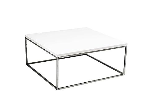 Euro Style Teresa Square Coffee Table, White Lacquer/Chrome