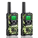 Kids Walkie Talkies with Vox-Hands Free, Westayin Range Up to 4 Mile Long Range Walkie Talkies, 22 Channels with Crystal Sound, Walkie Talkies for Adults, 2 Pack (Green Camo) (Color: black, Tamaño: Small)
